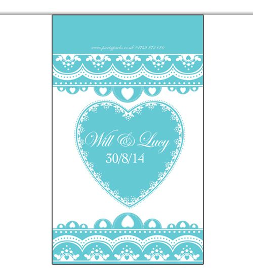 10m Personalised 'Hearts' Interior Bunting- Teal