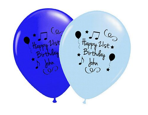 Add Your Name and Age Personalised Balloons - Pack of 50 - Blue Birthday