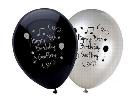Add Your Name and Age Personalised Balloons - Pack of 50 - Black Birthday