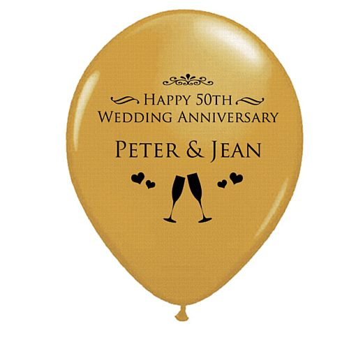 Add Your Names Personalised Balloons- Pack of 50- Golden Anniversary
