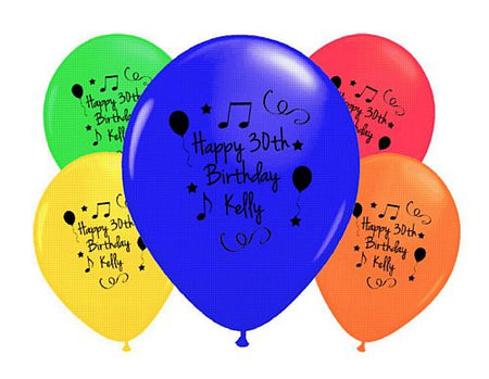 Add Your Name and Age Personalised Balloons- Pack of 50- Multi Birthday
