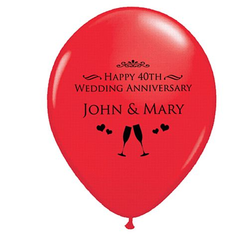 Add Your Names Personalised Balloons - Pack of 50 - Ruby Anniversary