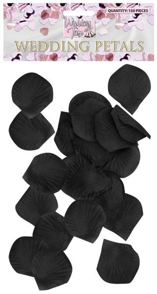 Black Silk Rose Petals - Pack of 150