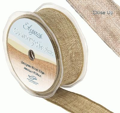 10m Roll of Wired Hessian Ribbon 38mm Wide