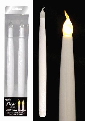 LED Tapered Candles - 27.5cm- 2 Pack