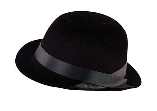 Black Flock Bowler Hat