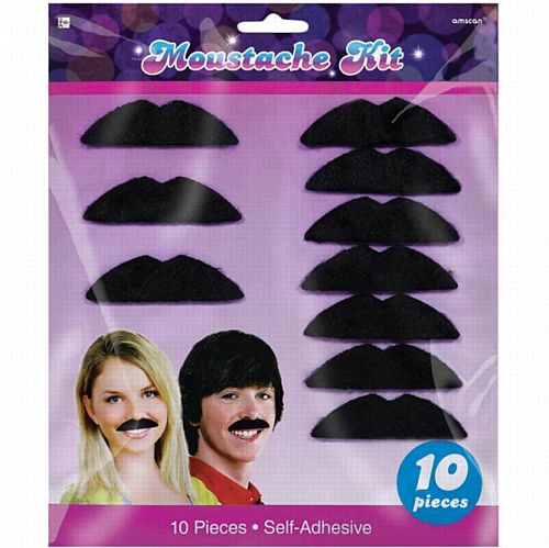 70s Disco Black Moustaches- Pack 10