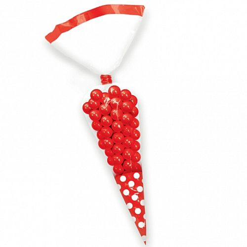 Red Polka Dot Sweet Cone Bags - Pack of 10