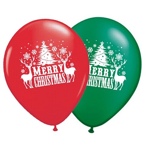 "Merry Christmas 10"" Latex Balloons Pack of 10- Red & Green"