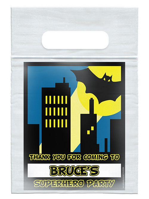 Personalised Bat Hero Themed Card Insert With  Sealed Party Bag - Each