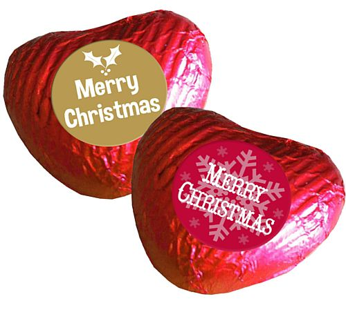 Christmas Heart Chocolates - Red- Pack 24