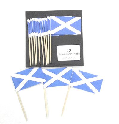 Scottish Flag Picks - 5.1cm - Pack of 10