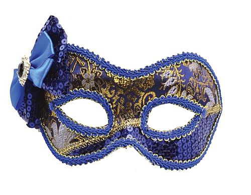 Blue and Gold Mask with Bow
