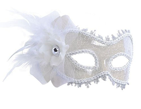 White Transparent Mask With Side Feather
