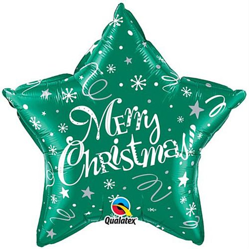 Merry Christmas! Festive Green Qualatex Foil Balloon - 50.8cm