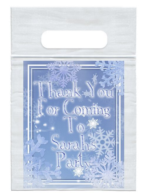 Personalised Frosty Snowflakes Card Insert With Sealed Party Bag - Each