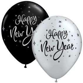 New Year's Swirling Stars Black & Silver Qualatex Balloons - 27.9cm - Pack of 10