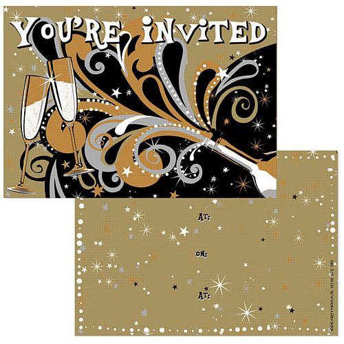 New Year's Bubbly Invites - Pack of 8