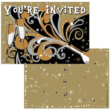 Click to view product details and reviews for New Years Bubbly Invites Pack Of 8.