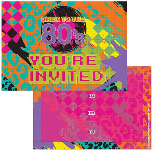 Back to the 80's Invites - Pack of 8