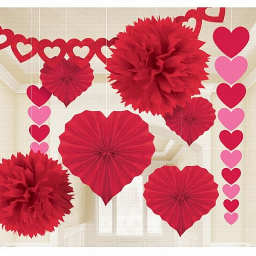 Valentine's Day Paper Decorating Kit - 9 Pieces