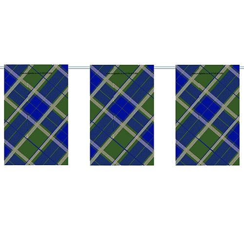 Blue Tartan Small Flag Interior Bunting - 2.4m