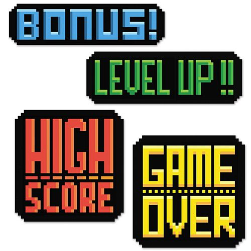 8-Bit Action Sign Cutouts - 36cm - Pack of 4