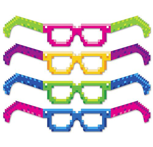 8-Bit Pixel Glasses- Pack of 4