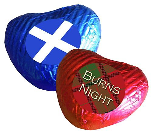 Burns Night Heart Chocolates - Pack 24