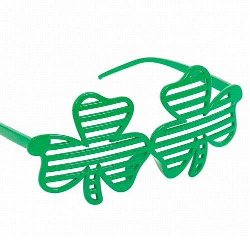 Green Shamrock Shutter Glasses