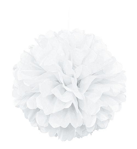 White Pom Pom Tissue Value Decoration - 40cm