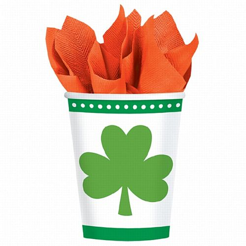 Lucky Shamrocks Paper Cups - 266ml - Pack of 8