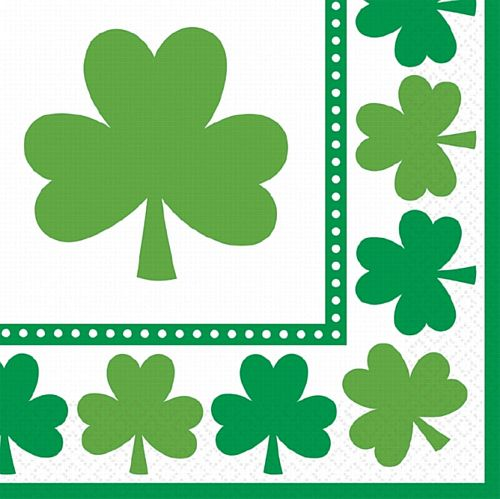 Lucky Shamrocks Luncheon Napkins - 33cm - Pack of 16