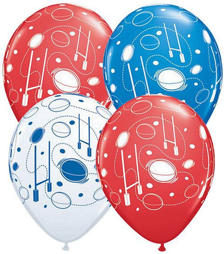 Red,White & Blue Rugby Balls & Posts Latex Balloons  - 11