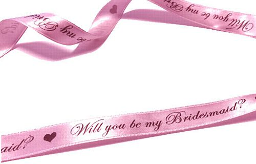 Pale Pink 'Will You Be My Bridesmaid? Ribbon- 15mm- Per metre