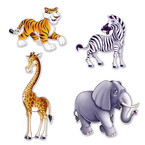 Jungle Animal Cutouts - Pack of 4
