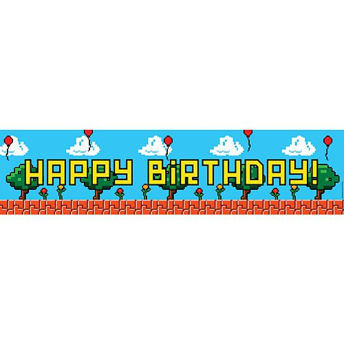Video Game Happy Birthday Banner - 1.20m