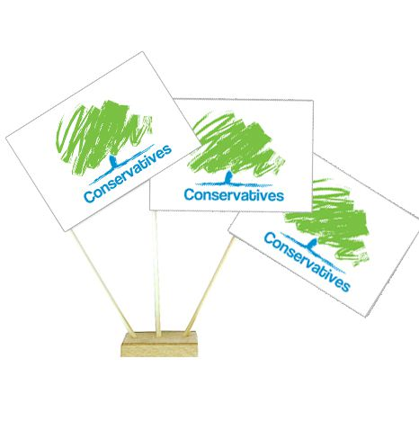 "Conservative Party Table Flag 6"" on 10"" Pole"