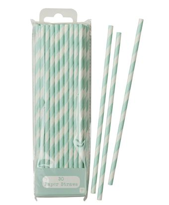 Pastel Mint Green Mix & Match Paper Straws - Pack of 30