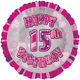 Birthday Glitz Hot Pink 15 Prismatic Foil Balloon 18