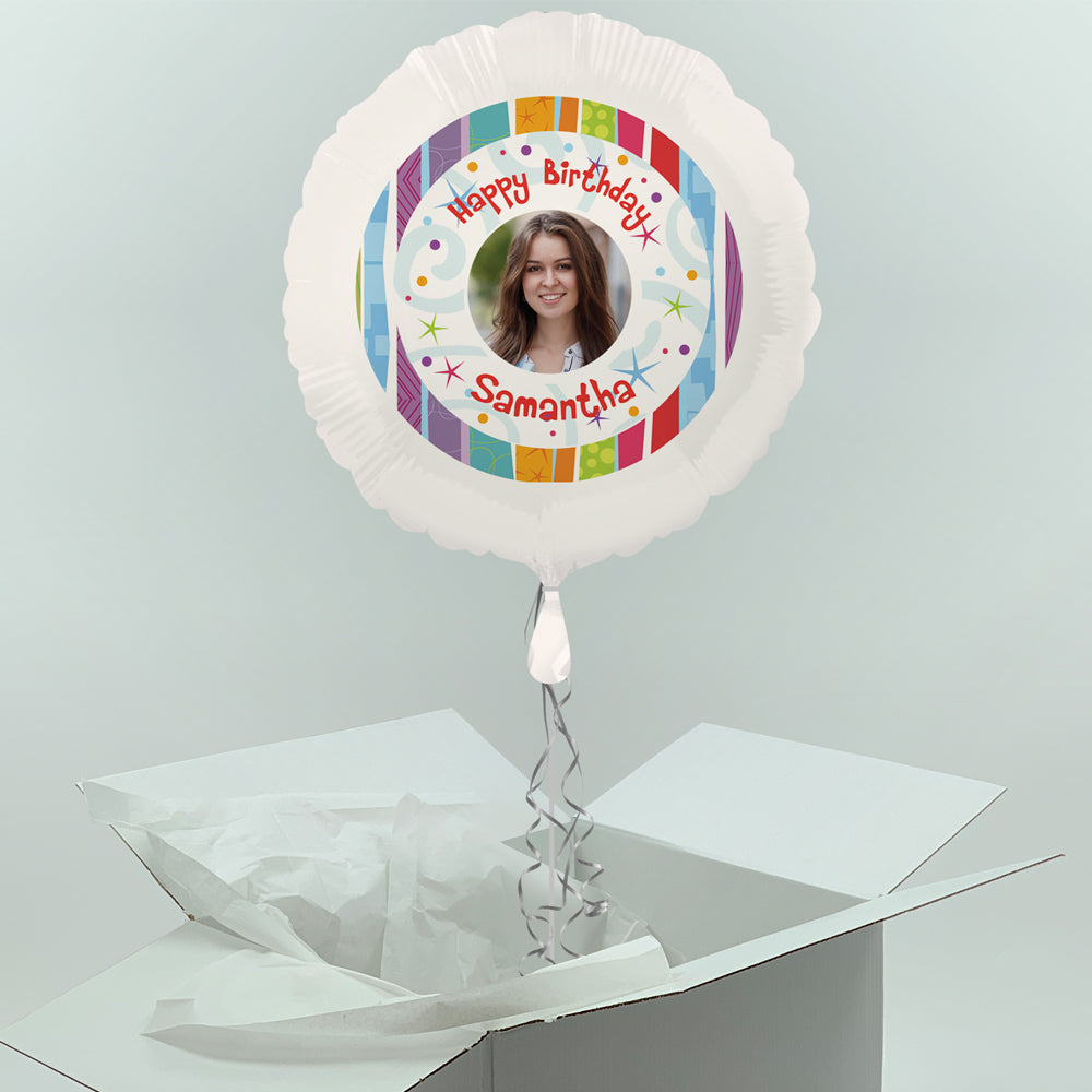 Inflated Personalised Photo Balloon-  Radiant Birthday Design
