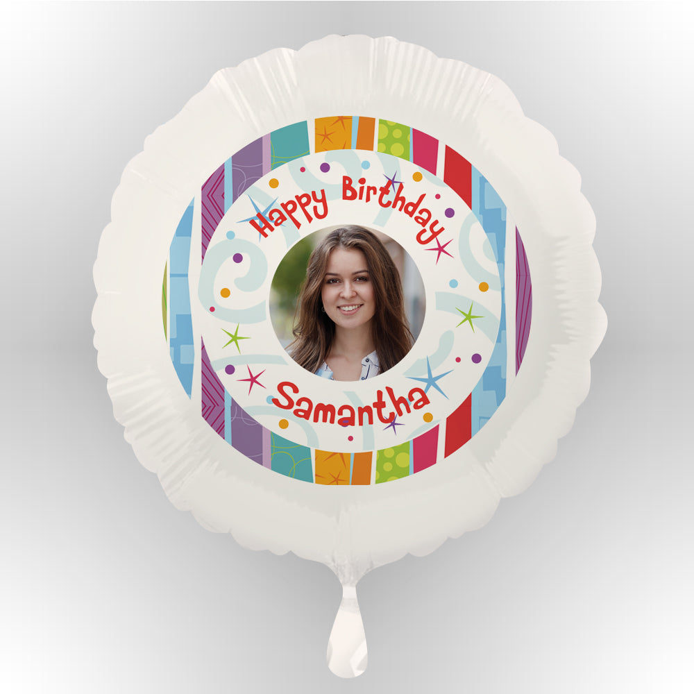 Happy Birthday Personalised Photo Balloon (Uninflated)