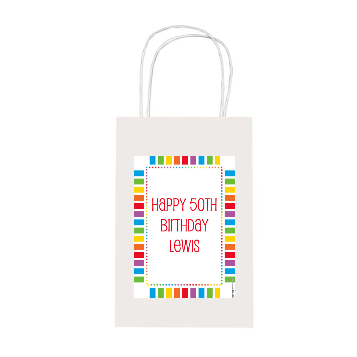 Personalised Rainbow Celebration Paper Party Bags - Pack of 4