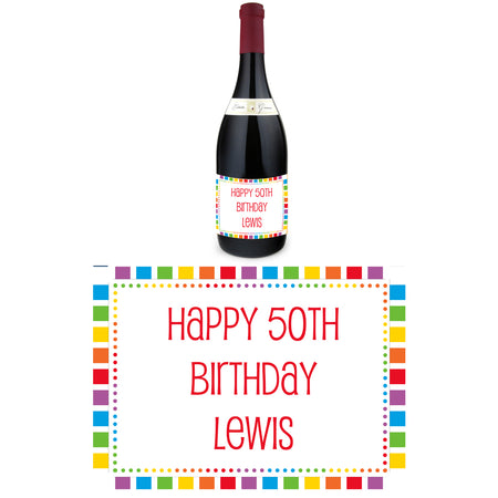 Personalised Wine Bottle Labels - Rainbow Celebration - Pack of 4