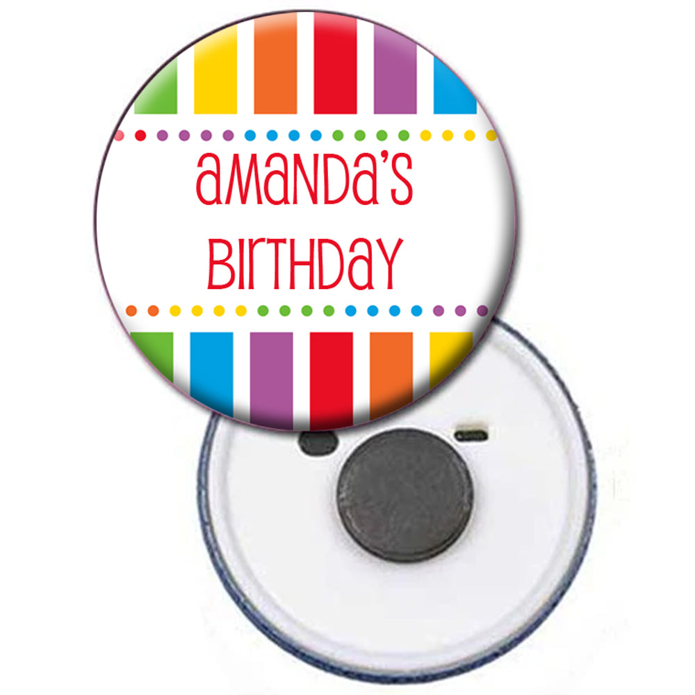 Personalised Magnet - Rainbow Celebration - 58mm