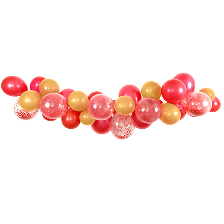 Red & Gold Mix Balloon Arch DIY Kit -  24 Balloons - 2.5m