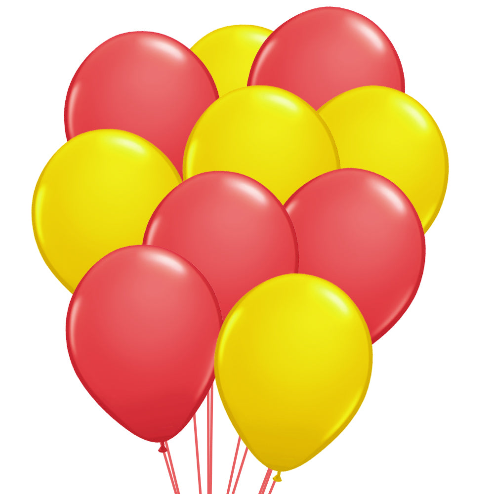 "Red & Yellow Latex Balloons - 10"" - Pack of 50"