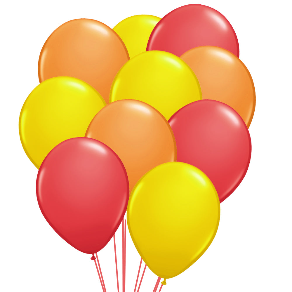 "Red, Orange and Yellow Latex Balloons - 10"" - Pack of 50"