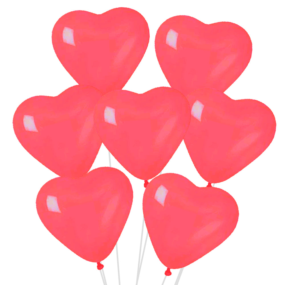 "Red Heart Shaped Latex Balloons - 10"" - Pack of 50"