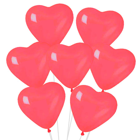 Red Heart Shaped Latex Balloons - 10
